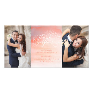 Watercolor Pink Typography Wedding Thank You Card