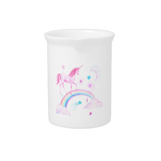 Watercolor Pink Unicorn and Rainbow Pitcher