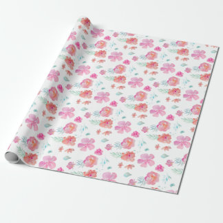 Watercolor Pink Watercolor Flowers Wrapping Paper