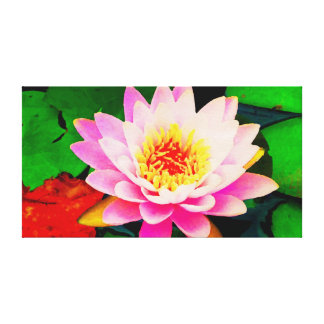 Watercolor Pink Waterlily Canvas Print