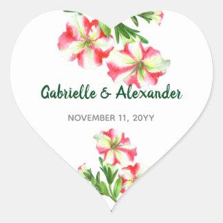 Watercolor Pink White Petunias Floral Art Wedding Heart Sticker