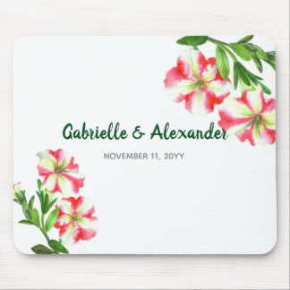 Watercolor Pink White Petunias Floral Art Wedding Mouse Pad