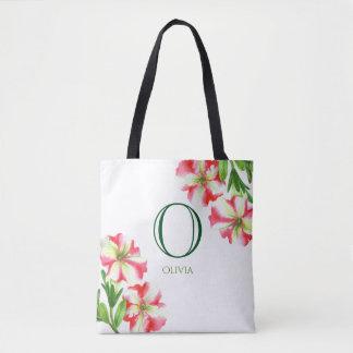 Watercolor Pink White Petunias Floral Monogram Tote Bag