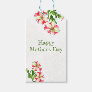 Watercolor Pink White Petunias Floral Mother's Day Gift Tags