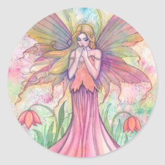 Watercolor PInk Wildflower Fairy Fantasy Art Classic Round Sticker