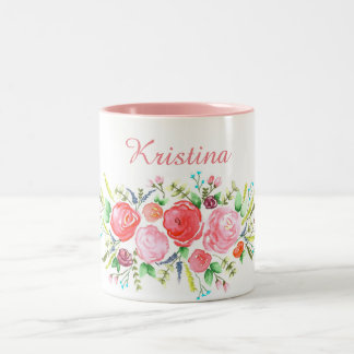 Watercolor Pink Wreath Two-Tone Coffee Mug