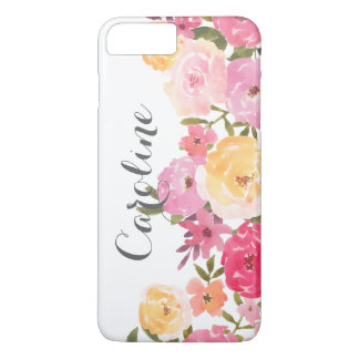 Watercolor Pink Yellow Whimsical Flowers Girly iPhone 7 Plus Case