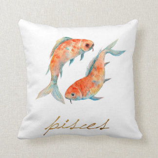 Watercolor Pisces Fish Cushion