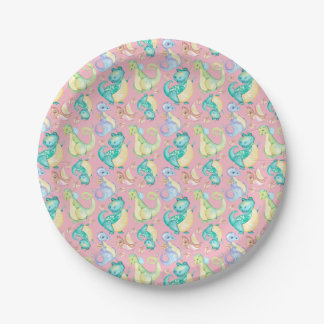 Watercolor Png Dinosaurs Hand Drawn Illustration Paper Plate