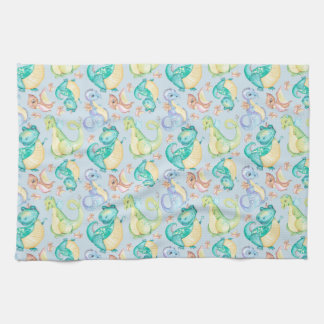 Watercolor Png Dinosaurs Hand Drawn Illustration Tea Towel