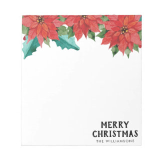 Watercolor Poinsettia Floral Christmas Party Notepad
