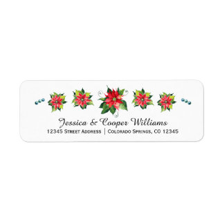 Watercolor Poinsettia - Holiday Address Label