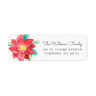 Watercolor Poinsettia Holiday Return Address Label
