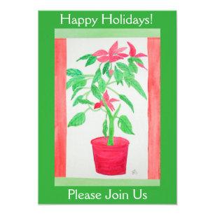 Watercolor Poinsettia Invitation