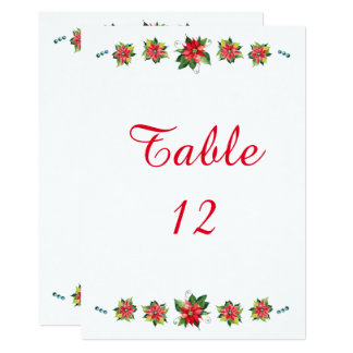 Watercolor Poinsettia - Table Number