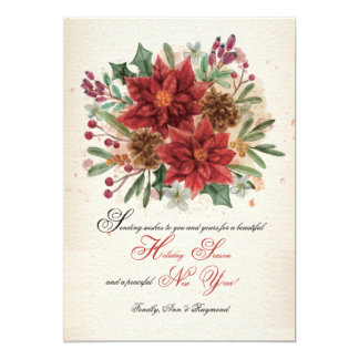 Watercolor Poinsettias and Pine Cones Card