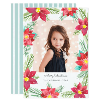 Watercolor Poinsettias Photo Holiday Card