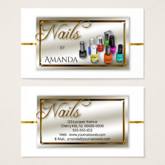 Watercolor Polish Nail Salon | Stylist Faux Gold Business Card