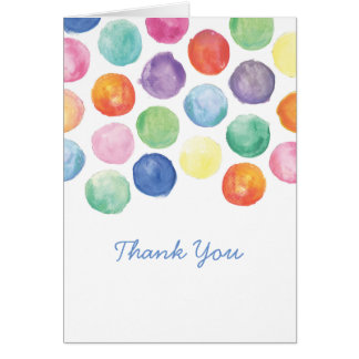 Watercolor Polka Dots Thank You Card