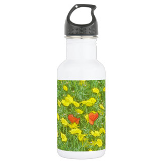 Watercolor poppies 532 ml water bottle