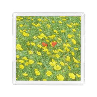 Watercolor poppies acrylic tray