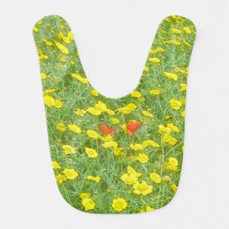 Watercolor poppies bib