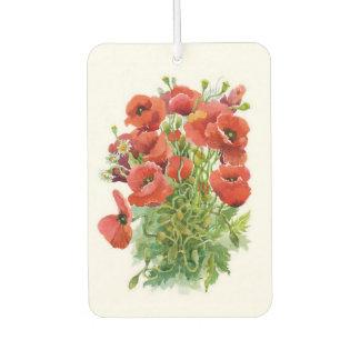 Watercolor Poppies Car Air Freshener
