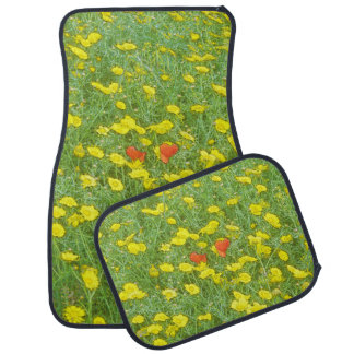 Watercolor poppies car mat