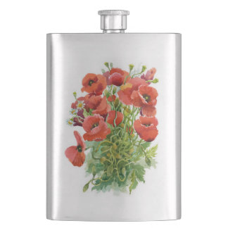 Watercolor Poppies Classic Flask