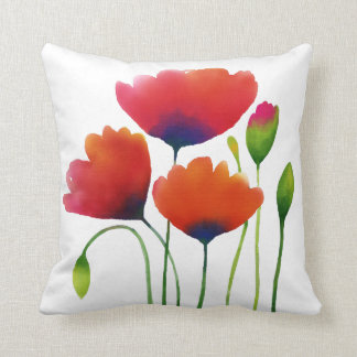 Watercolor Poppies Design - Personalized Quote! Cushion