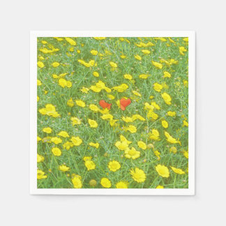 Watercolor poppies disposable napkin