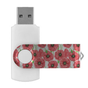 Watercolor poppies floral pattern USB flash drive