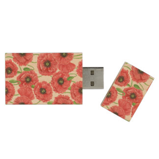 Watercolor poppies floral pattern wood USB flash drive