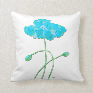 Watercolor Poppies in Blue Throw Pillow