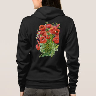 Watercolor Poppies Zip Hoodie