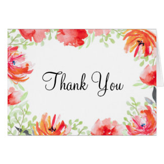 Watercolor Poppy Flower Thank You Card