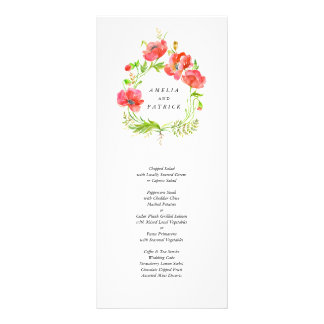 Watercolor Poppy Wreath Menu Personalized Rack Card