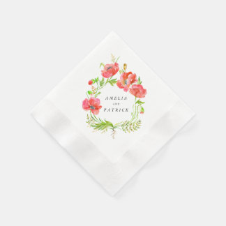 Watercolor Poppy Wreath Napkins Paper Napkins