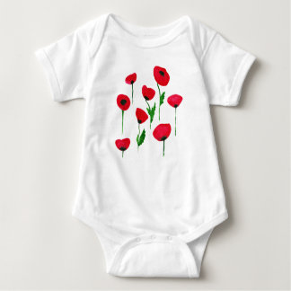 watercolor poppys baby bodysuit