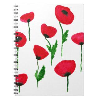 watercolor poppys notebooks