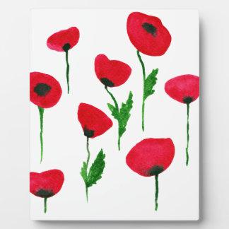 watercolor poppys plaque