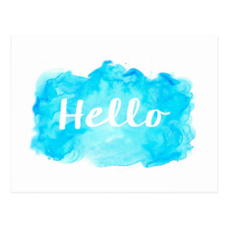 Watercolor postcard - teal, turquoise, blue