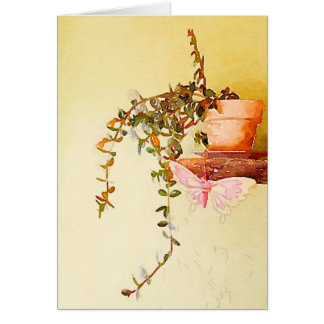 Watercolor Potted Plant and Butterfly Greeting Card