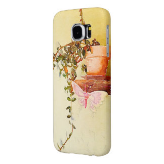 Watercolor Potted Plant and Butterfly Samsung Galaxy S6 Cases