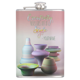Watercolor Pottery Creativity Never Goes Out Style Hip Flask