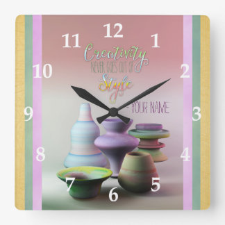 Watercolor Pottery Creativity Never Goes Out Style Square Wall Clock