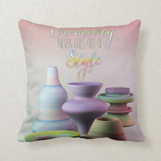 Watercolor Pottery Creativity Never Goes Out Style Throw Pillow