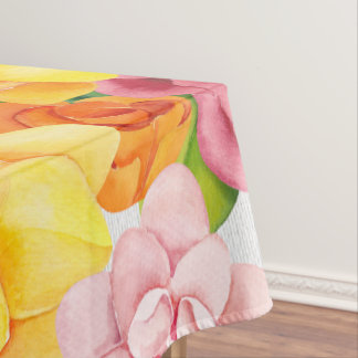 Watercolor Pretty Bright Florals Tablecloth