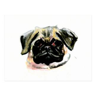 Watercolor Pug Painting Postcard