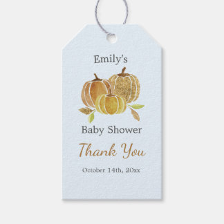 Watercolor Pumpkin Blue Fall Thank You Tags